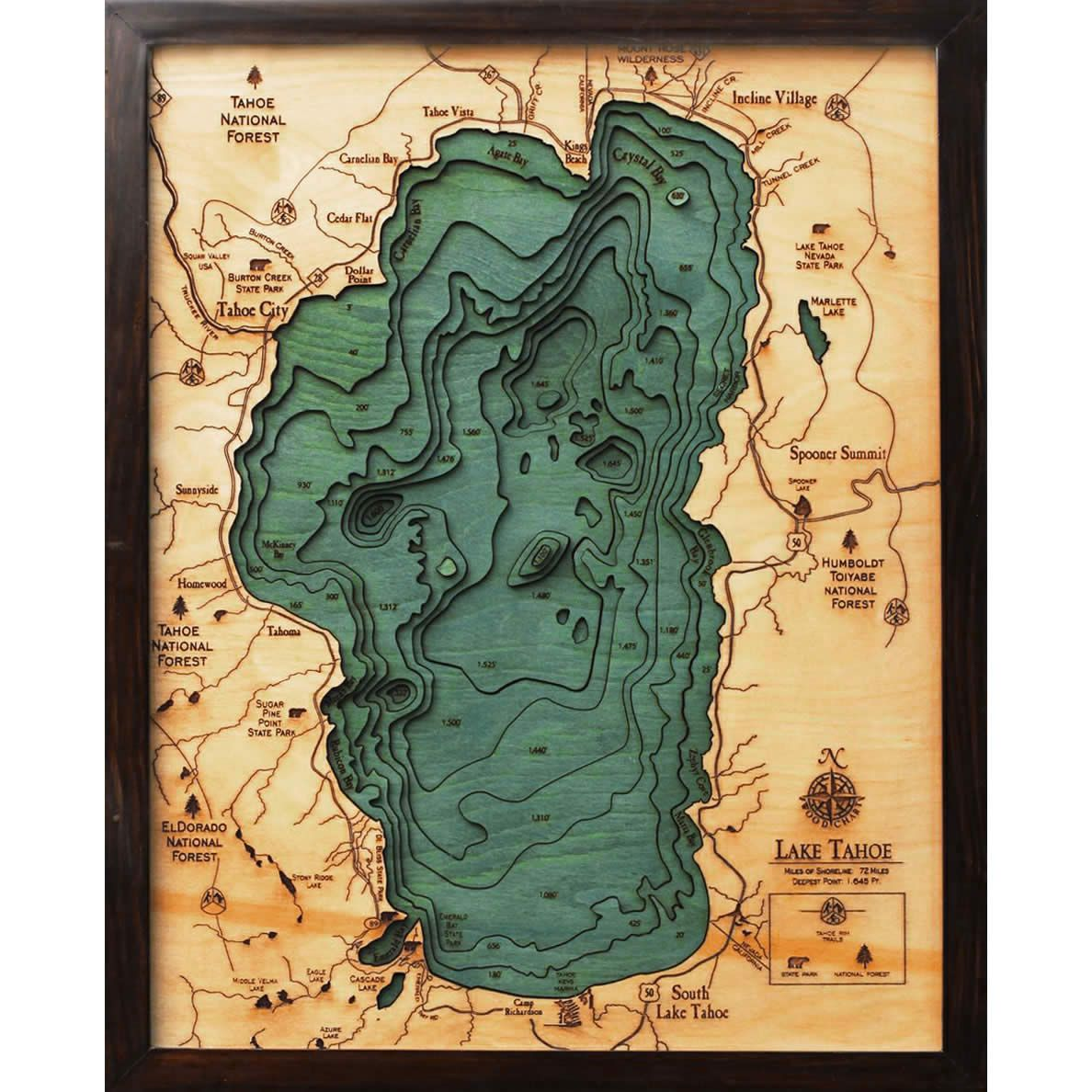 lake tahoe wood map 3d nautical topographic chart