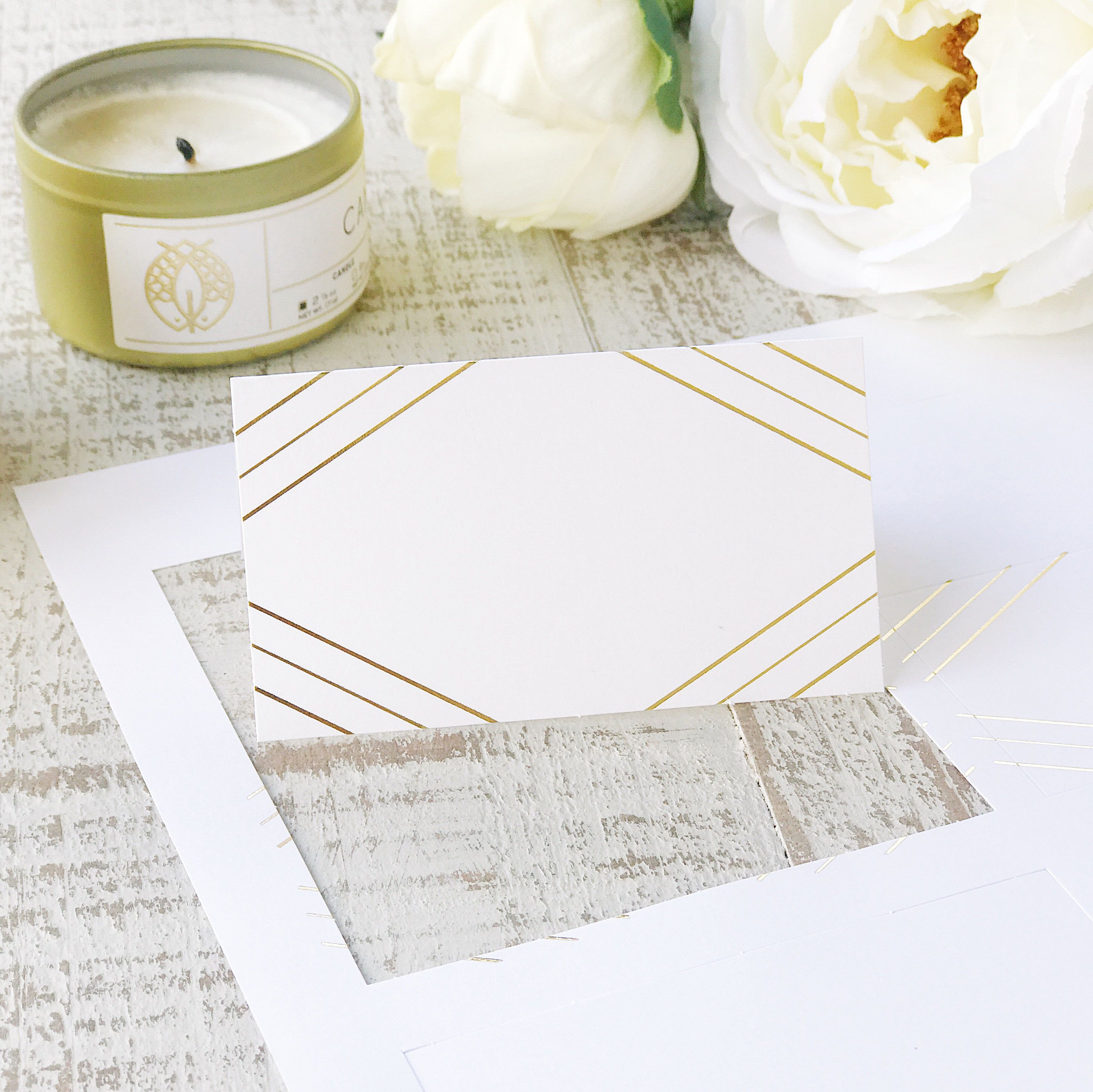 Printable Gold Foil Place Cards Art Deco Perforated Card Stock For