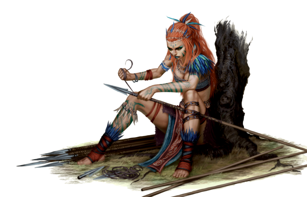 Female Human Tribal Barbarian Or Hunter Or Ranger