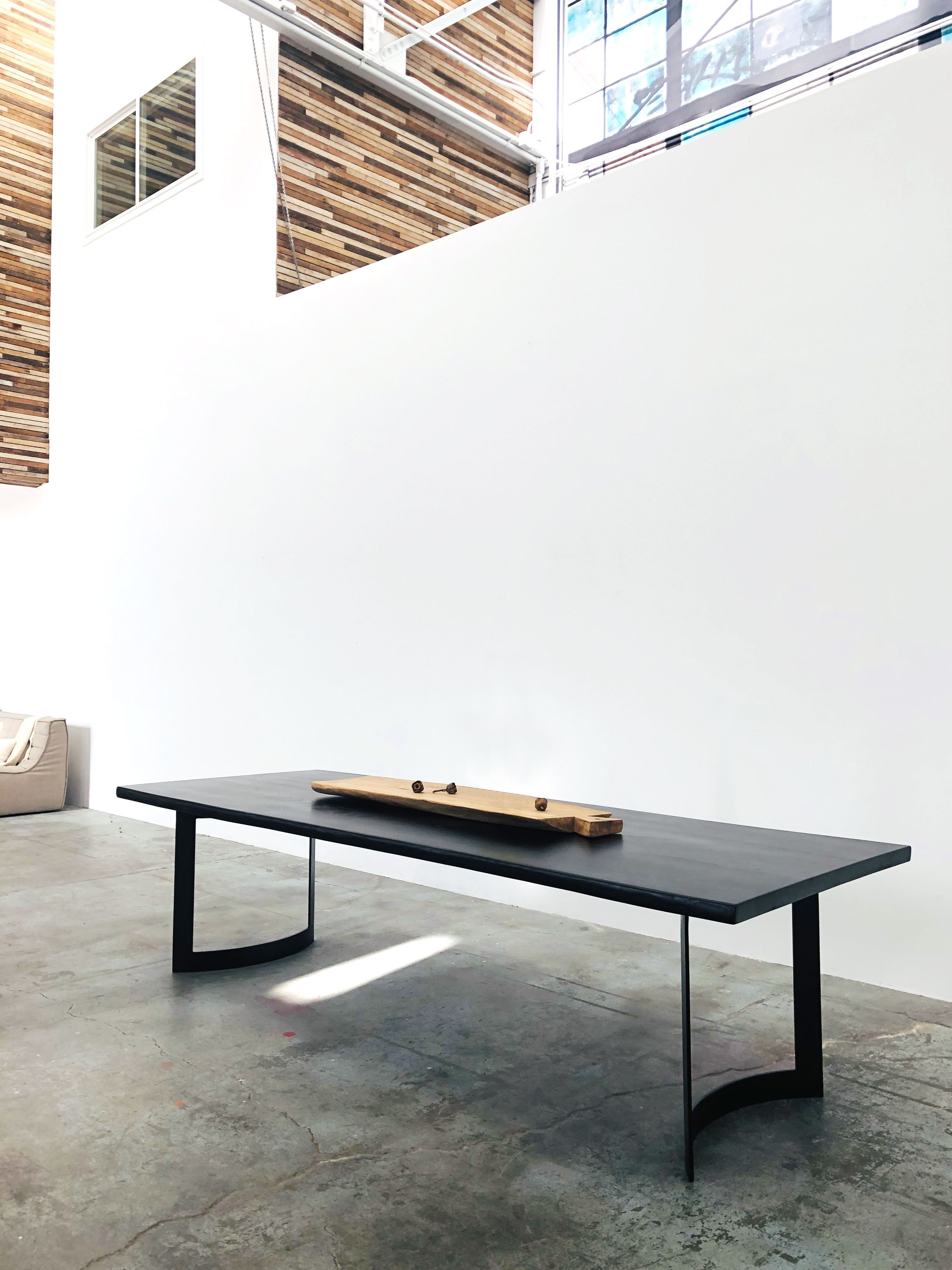 Mars Live Edge Dining Table Black Ash With Curved Metal Leg Live Edge Dining Table Dining Table Black Dining Table