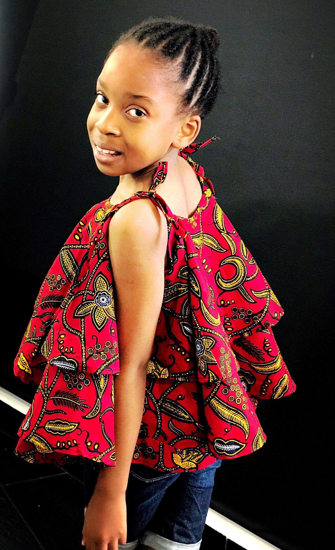 Girls African Print Ankara Top with matching shorts | Blusen
