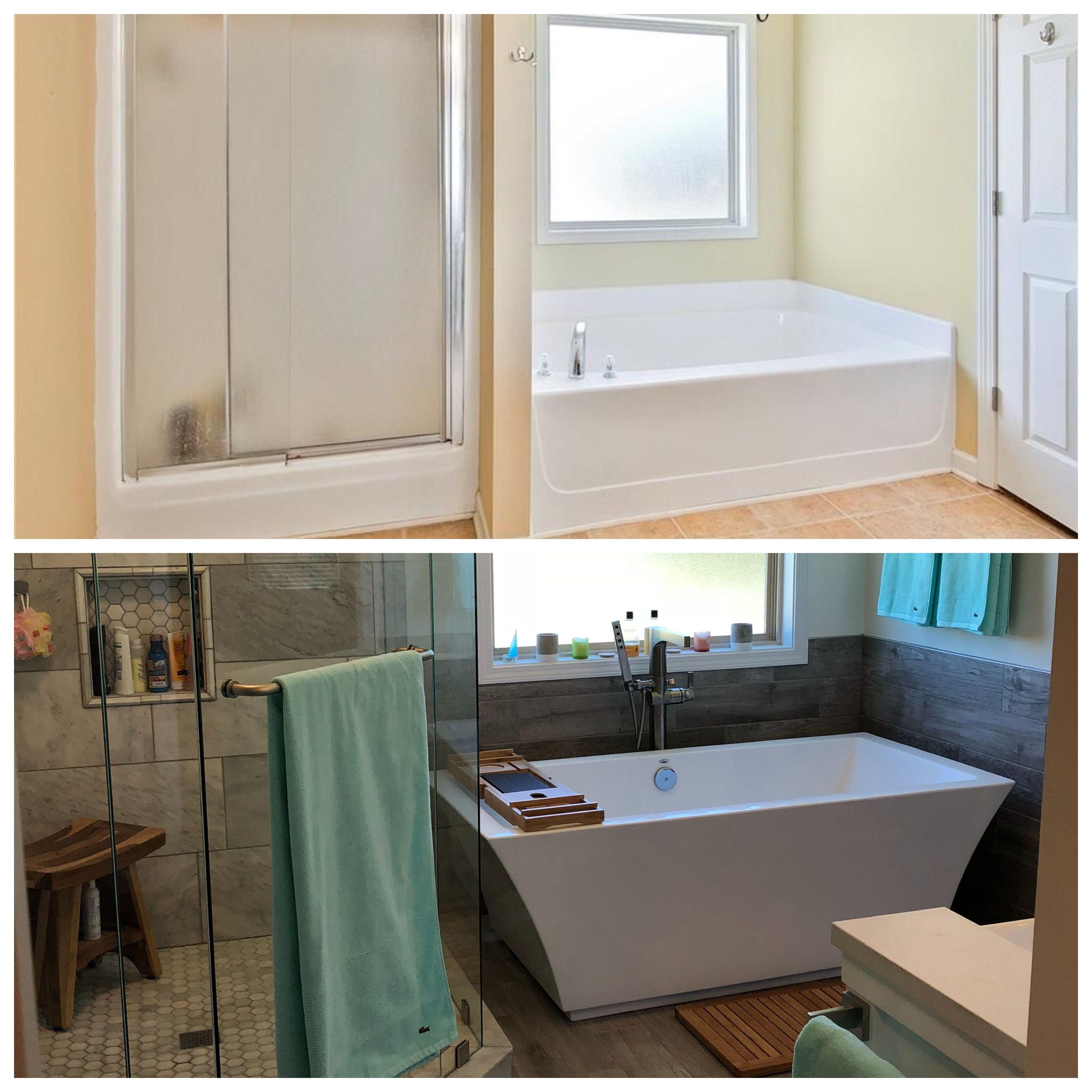 Master Bath Renovation Free standing tub Hexagon tiles Walk in shower Glass doors Farm sink vanity Edison lights