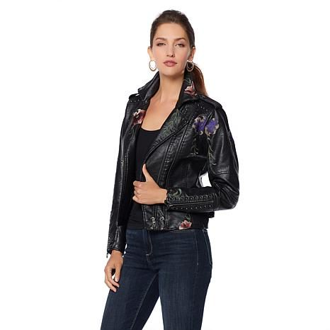 Shop Colleen Lopez Embroidered Faux Leather Jacket 8453745 Read Customer Reviews And More At Hsn C Faux Leather Jackets Black Faux Leather Jacket Woven Jacket