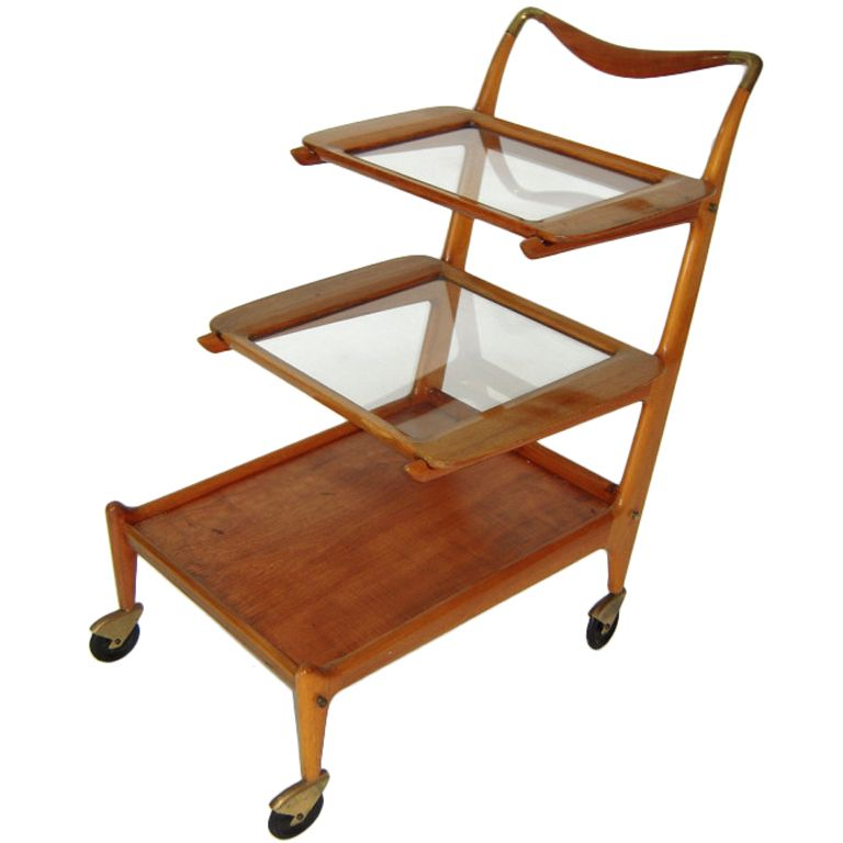 Elegant Bar Cart with Stools