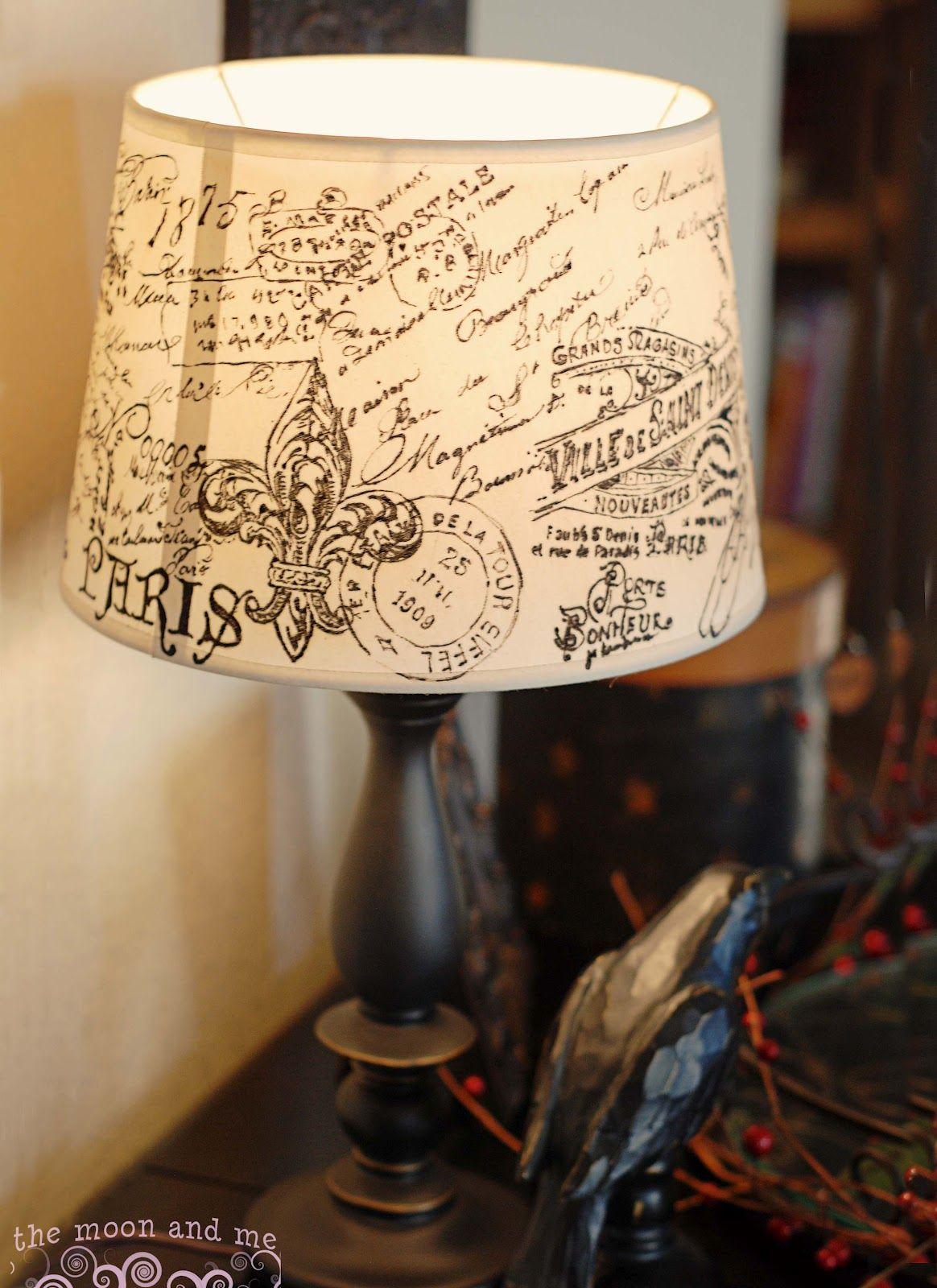 Diy French Script Lampshade Copycat Lamp Shade Lamp Shades