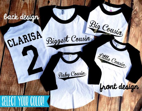 27a9851a Cousins Shirts - Big Cousin - Middle Cousin - Little Cousin - PERSONALIZE -  Family Reunion Shirts - Family Shirts - Announcement Shirts