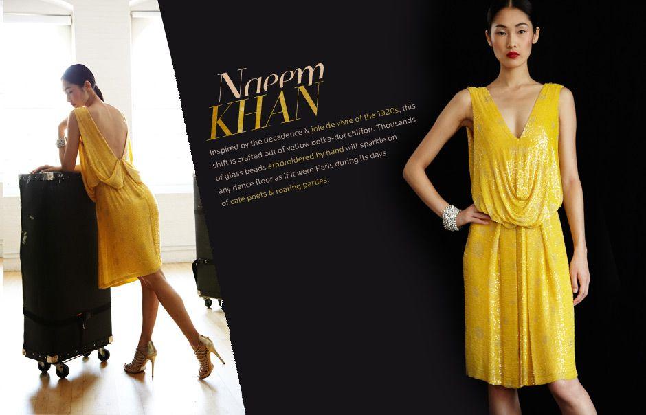 Naeem Khan Fabulous 1920s Style Yellow Dress