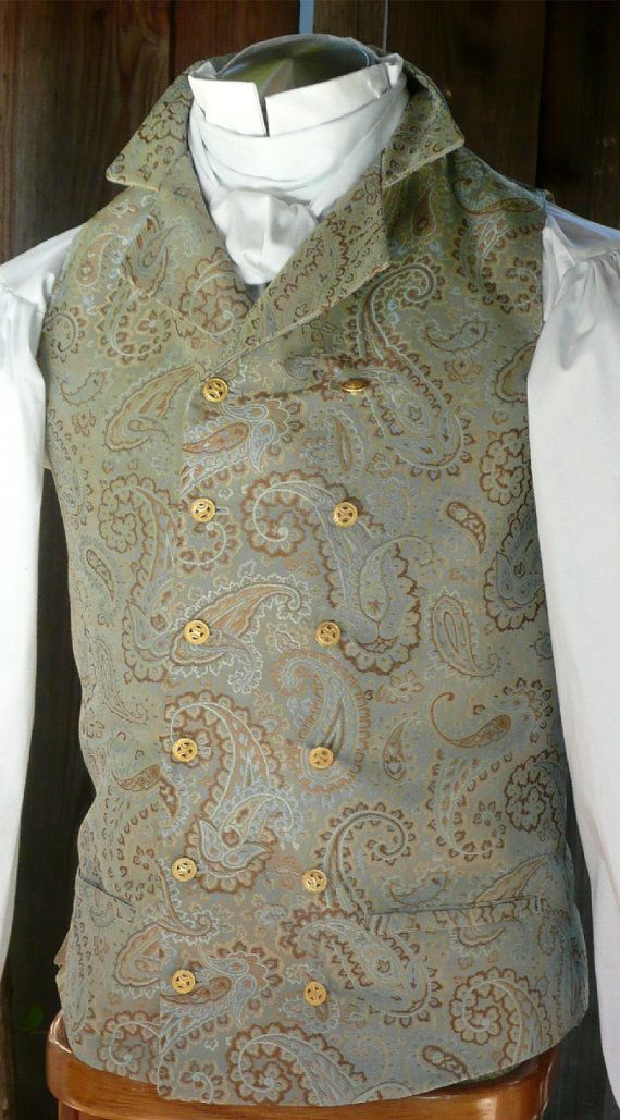Wedding Groom Vest English Regency French Empire Double Breasted Waistcoat in Aqua Brocade, other colors