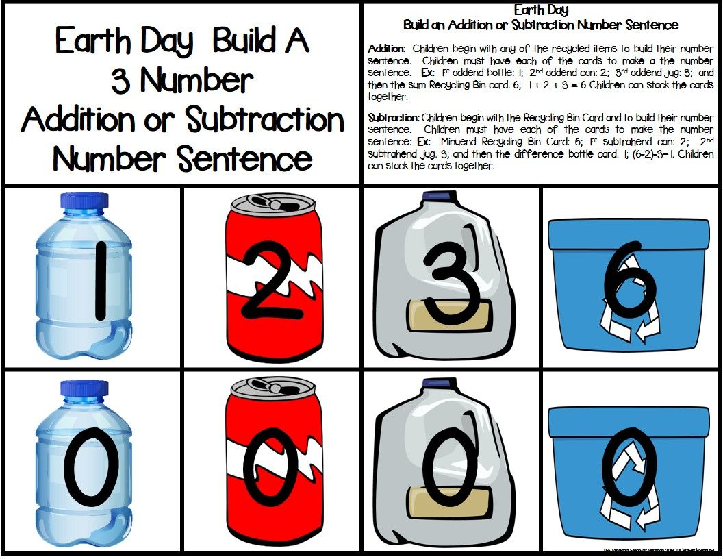 Earth Day Build 3 Addend Addition Amp Subtraction Number