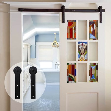10ft Wood Barn Door Hardware Closet Track Kit Door Sliding Track Space Saving Door Roller Sliding Barn Door Hardware Barn Door Hardware Sliding Barn Door Hardware Single Doors