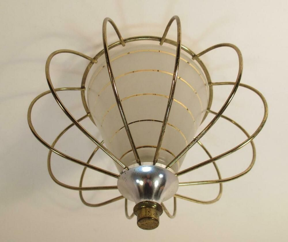 Vintage 1950s Atomic Cage Light Shade Ceiling Fixture Sconce Lamp Mid Century In 2020 Cage Light Glass Light Fixture Sconce Lamp