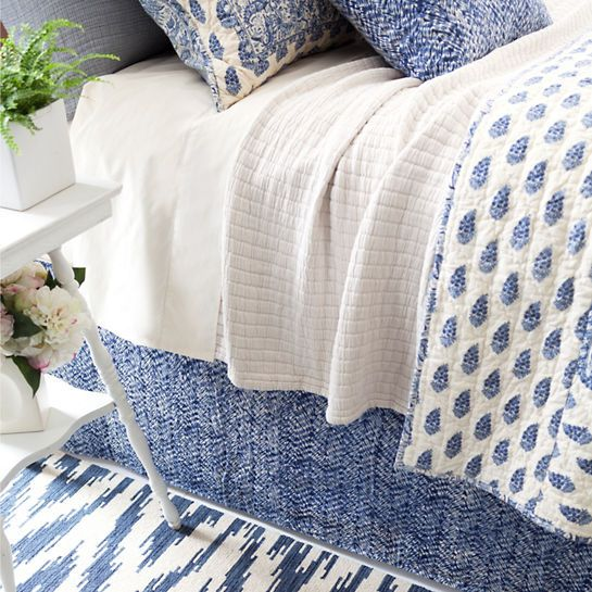 This Vibrant Indigo Blue Patterned Bed Skirt Pops Against Neutrals