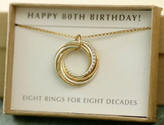 80th Birthday Gift 80th Birthday Necklace 8 Rings For 8 Decades