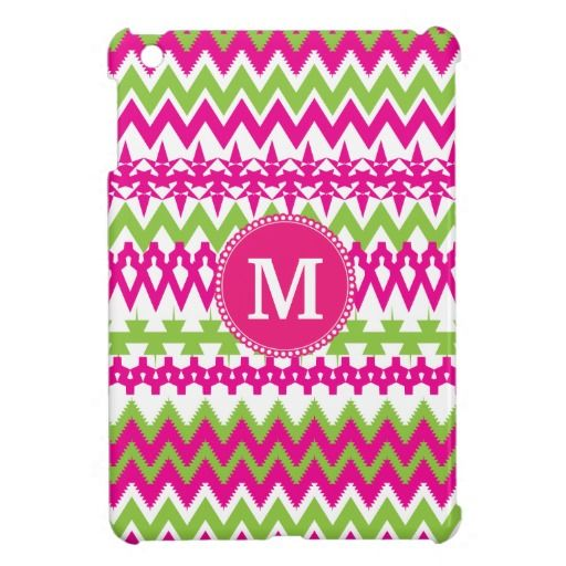 Personalized Monogram Hot Pink Tribal Chevron Cover For The iPad Mini