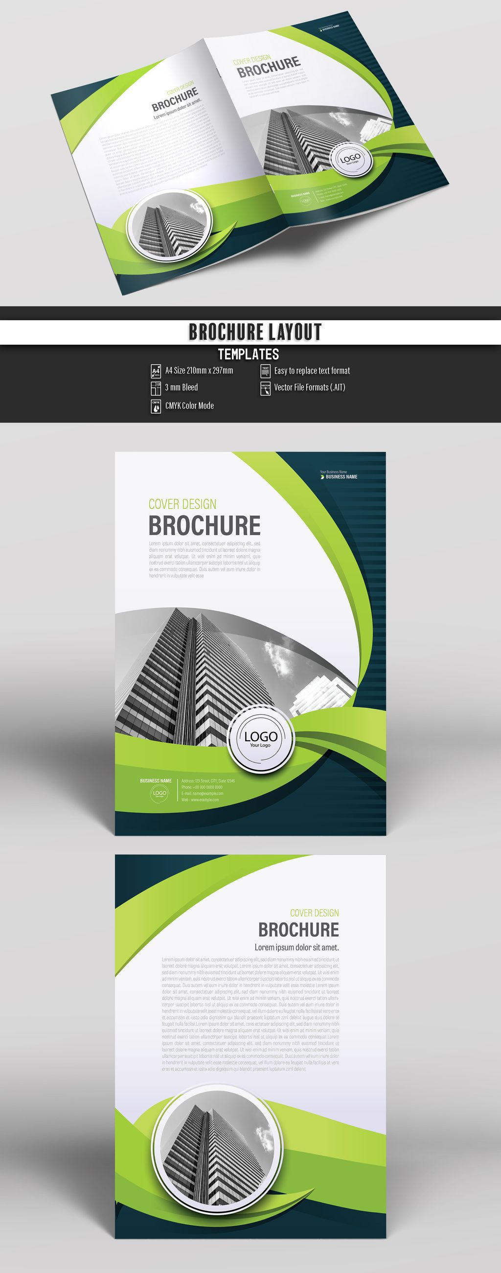 business brochure cover layout with green accents buy this stock