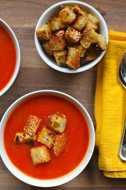 Smoky Tomato Soup with Skillet Parmesan Croutons by kristin :: thekitchensink
