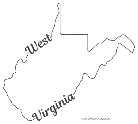 West Virginia Map Outline Printable State Shape Stencil Pattern State Outline Virginia Map Map Outline