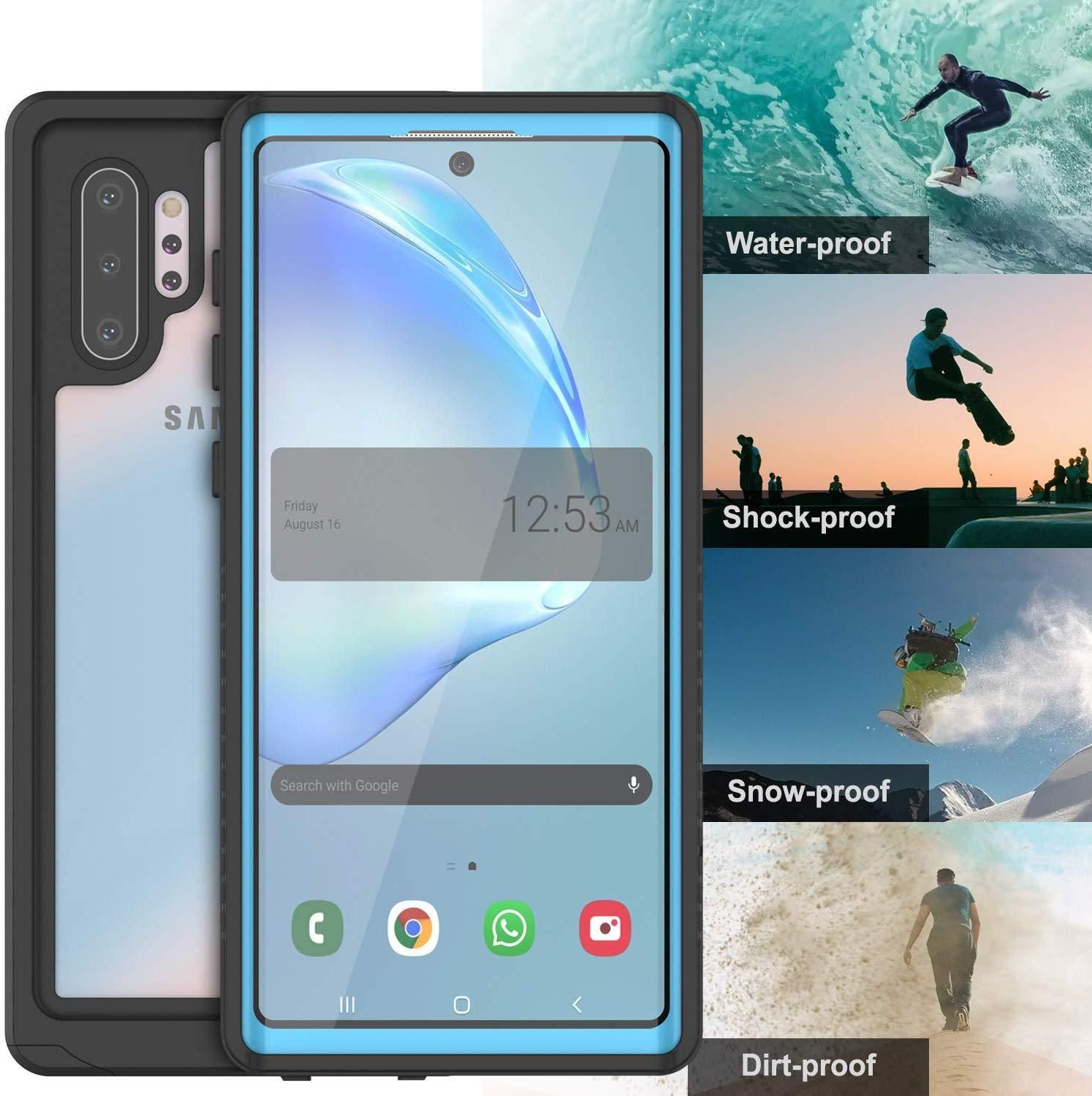 Galaxy Note 10+ Plus Case, Punkcase [Extreme Series] Armor Cover W/ Built In Screen Protector [Light Blue]