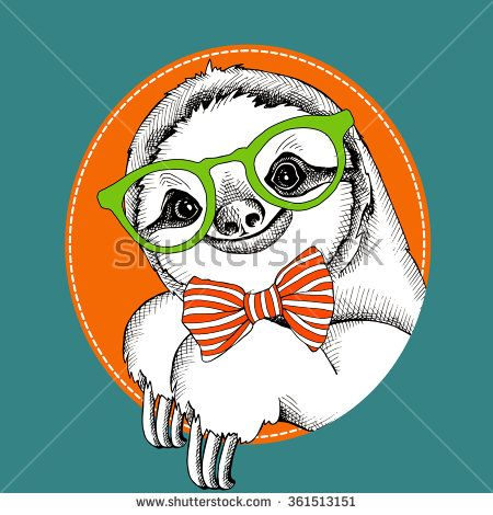 Sloth Portrait In A Glasses With Tie Vector Illustration Goruntuler Ile