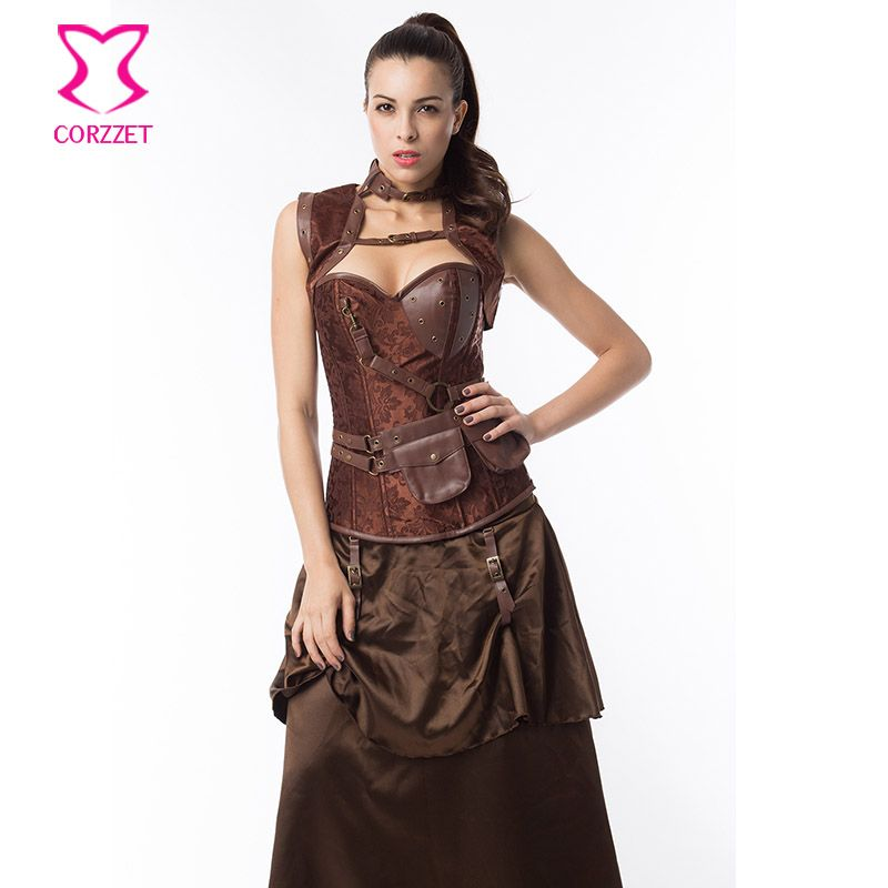 5ad087d000 Latex Gothic Clothing Sexy Brown Steel Bone Corset Steampunk Waist slimming  Corsets And BustiersTop Women Corpetes E Espartilhos