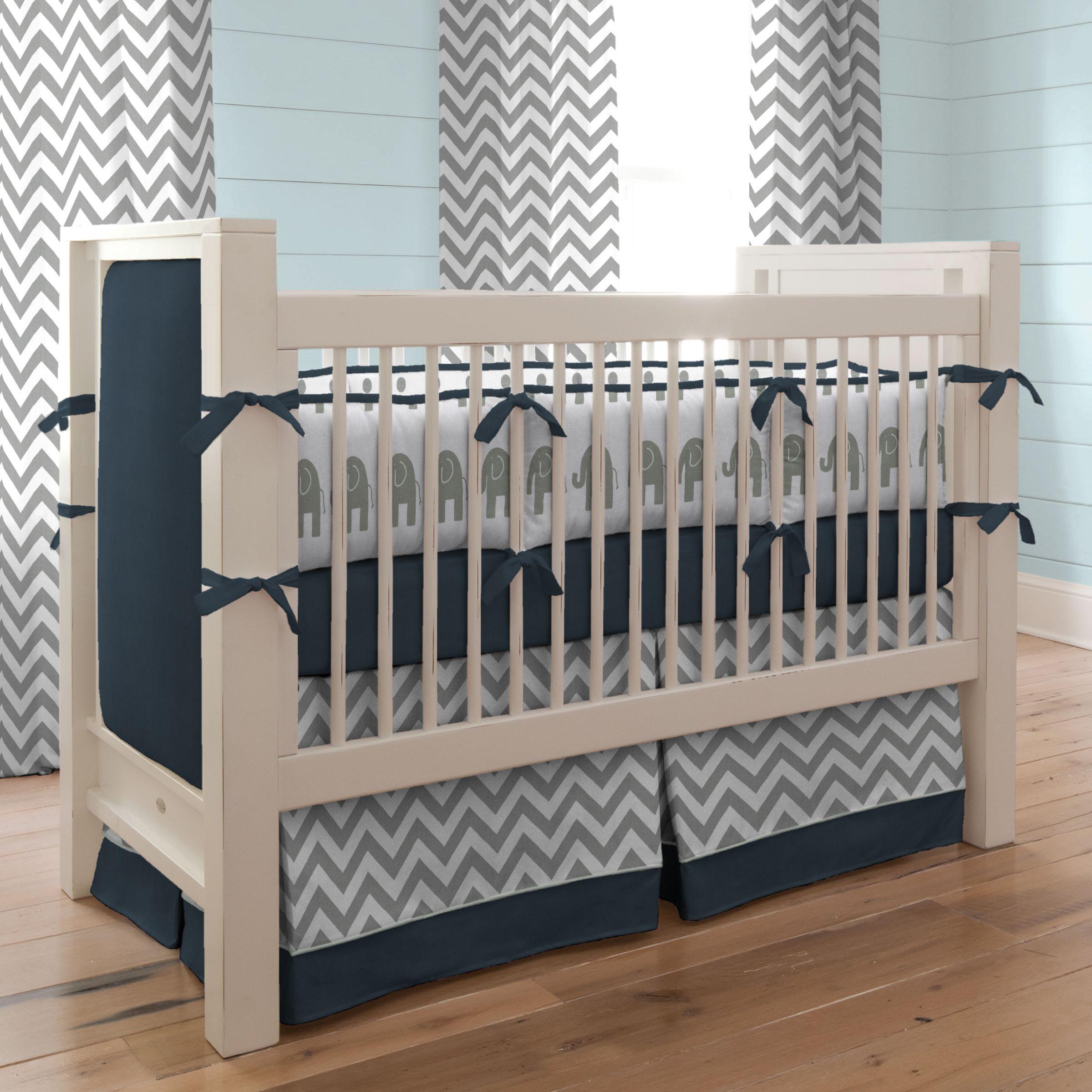 Navy and Gray Elephants Baby Crib Bedding | Grey elephant ...