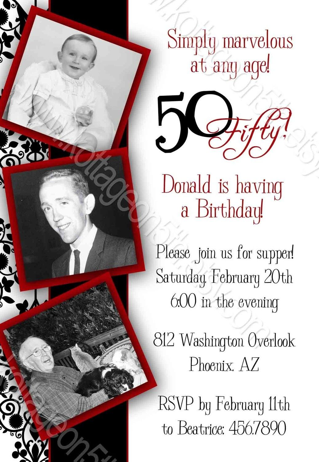 Vintage Birthday Parties 60th Party Invitations Blue