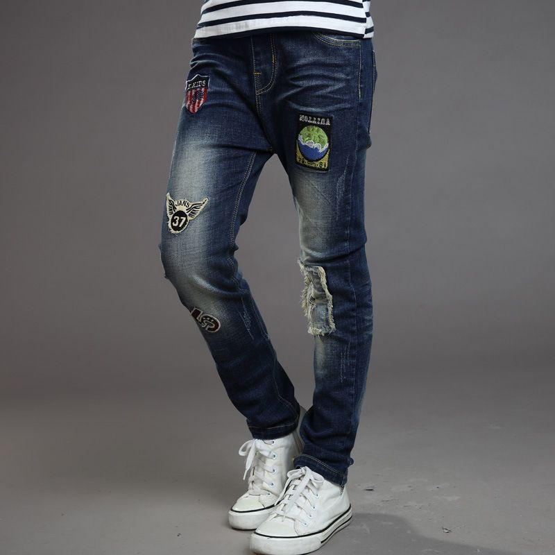 Cheap Otono Ninos Denim Jeans Para Ninos Pantalones Vaqueros Rasgados Pantalones De Mezclilla Rop Pantalones Para Ninos Pantalones Vaqueros Rasgados Pantalones