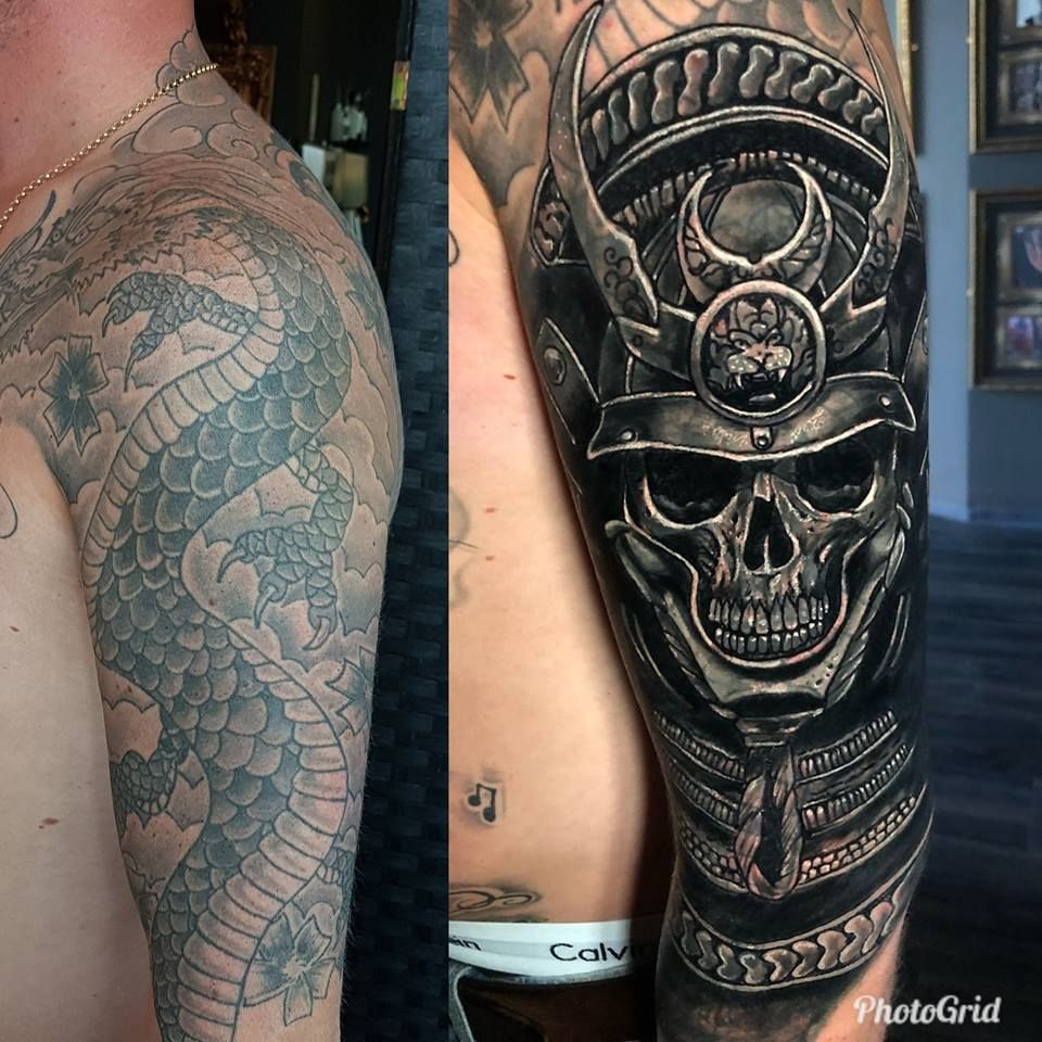 Skull coverup tattoo by Robby. Limited availability at