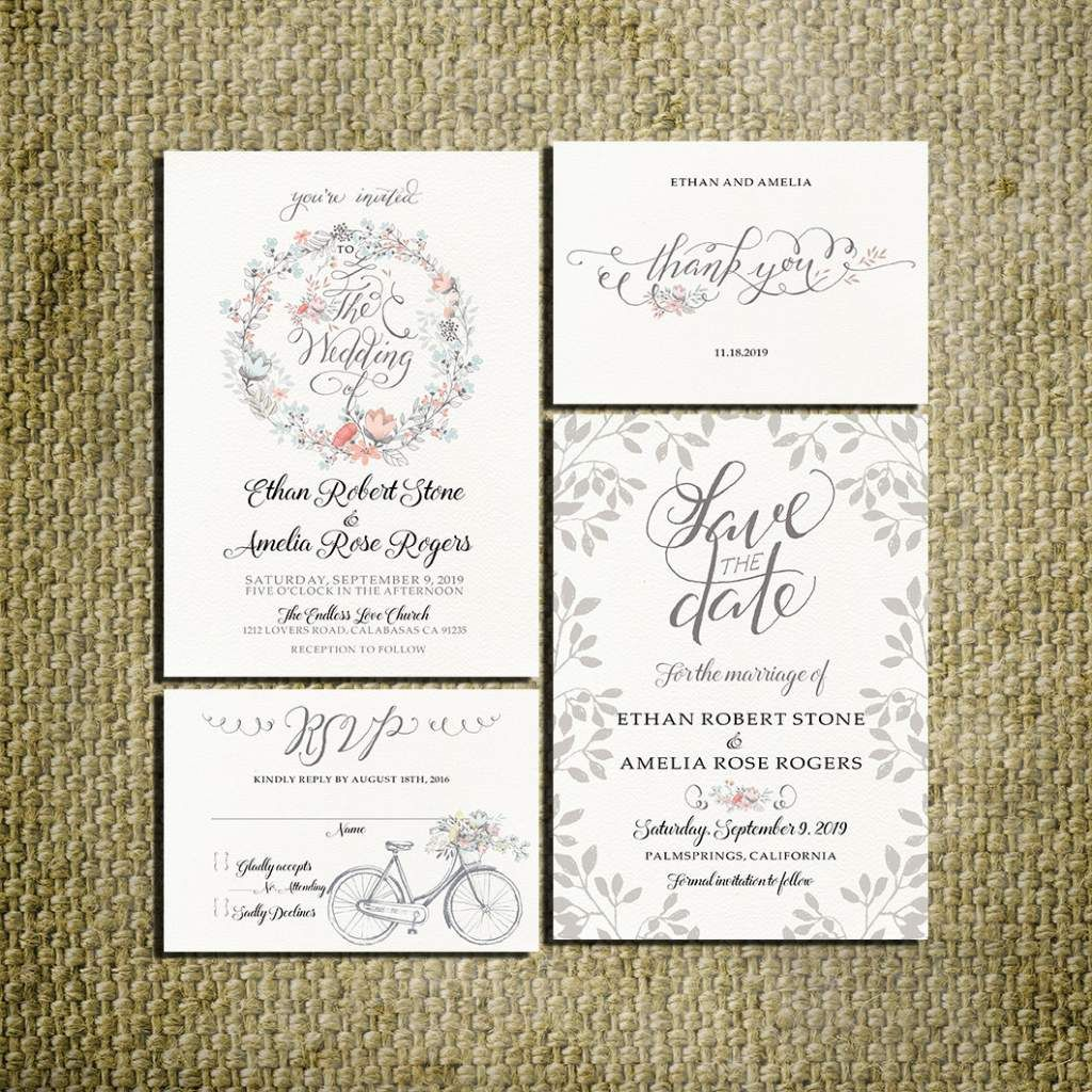 Printable Rustic Vintage Wedding Invitation Kit bicycle invitation ...