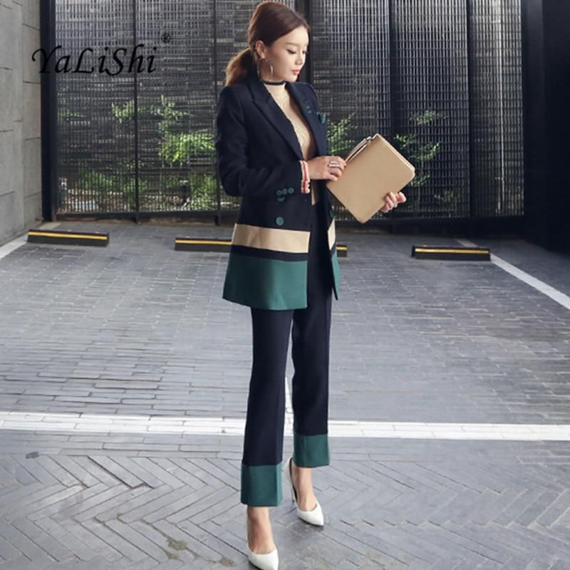 96f9f0e9dc1 2018 Autumn Womens 2 Piece Pant Suits Women Casual Office Business Suits  Formal Work Wear Sets Elegant Pant Suits Vestidos Mujer.