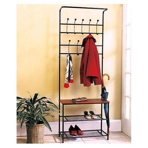Rack Coat Hat Shoe Hall Tree Bench Entryway Entrance Foyer Mudroom Storage NEW This Entryway Bench with Coat Rack offers handy storage space and a place to ...  sc 1 st  Pinterest & Entryway Hall Tree Storage Bench Coat Rack Hanger Shelves Metal ...