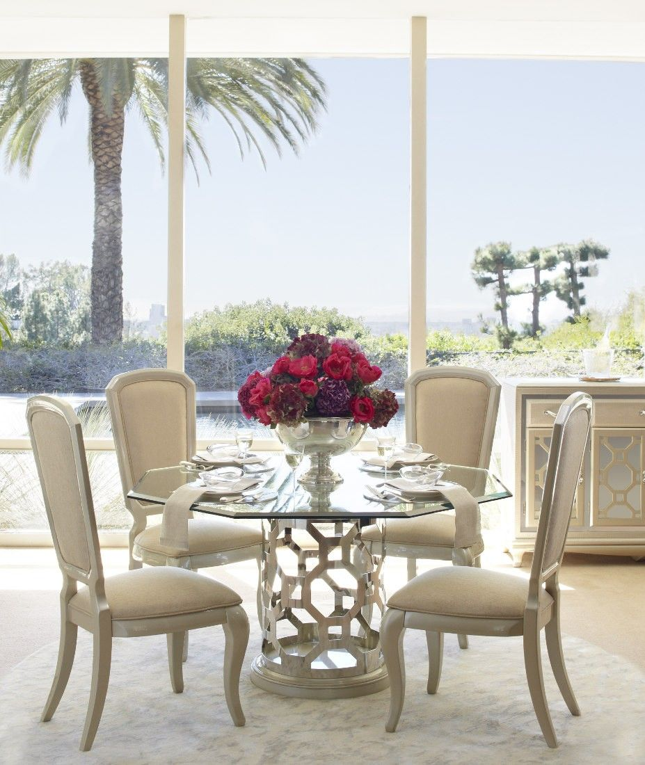 Aico After Eight Pearl Round Shaped Glass Top Dining Table Set