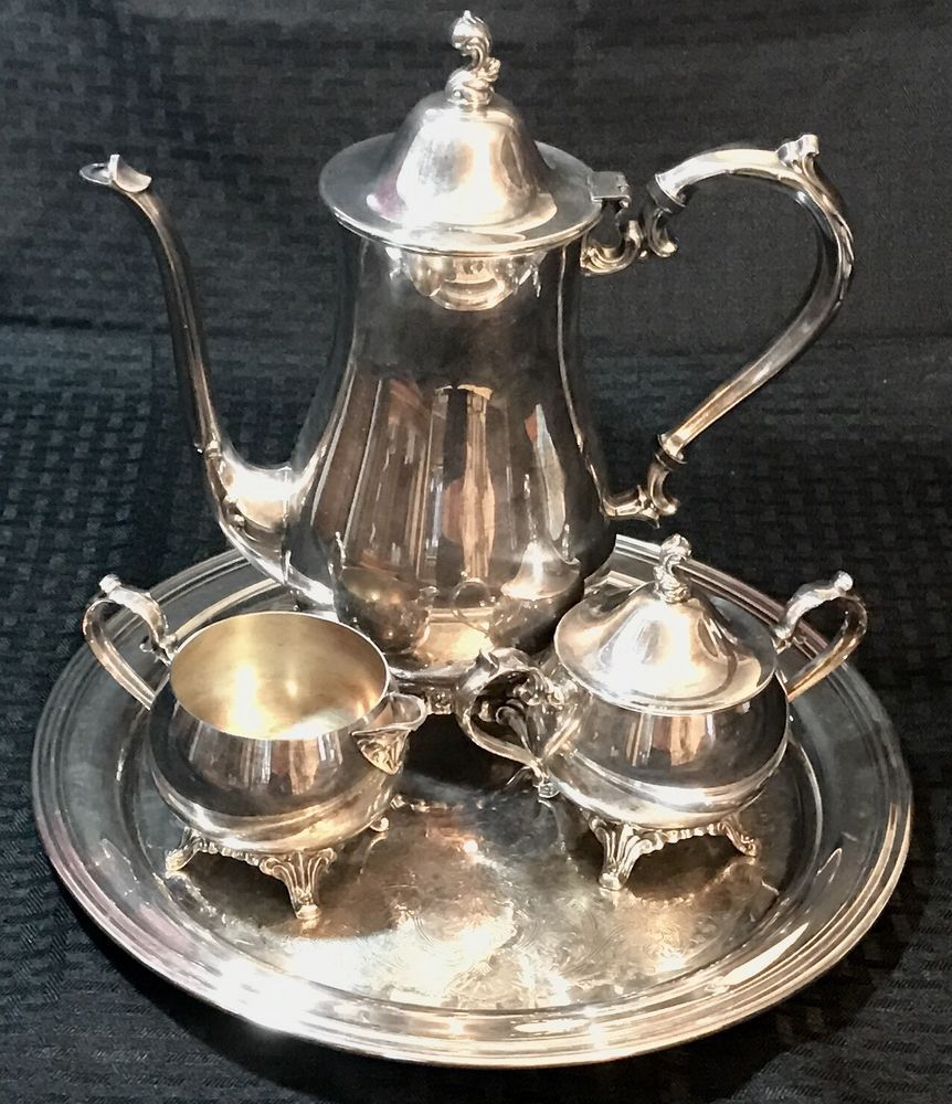 "Vintage Oneida Tea Coffee Pot Service Set Tray 12"" Lids"