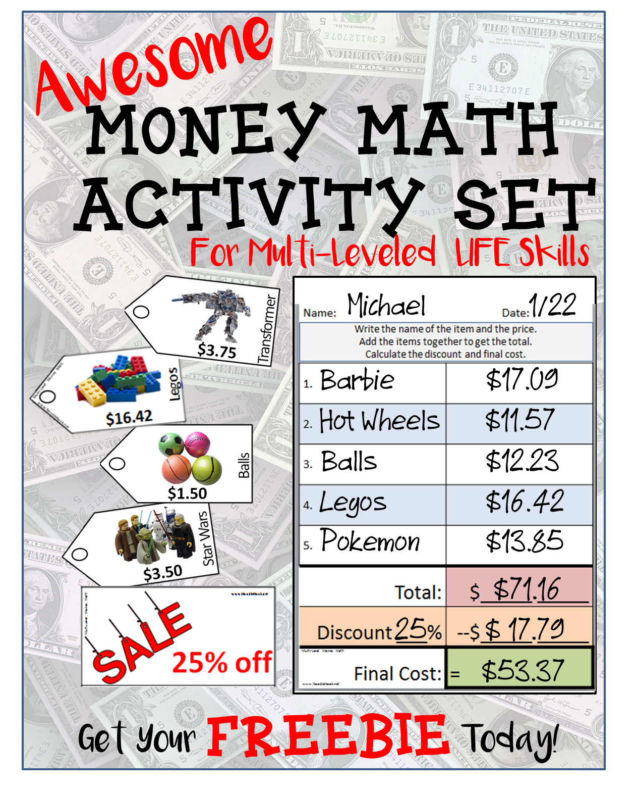 Free Money Math Activity From Noodlenook For Centers