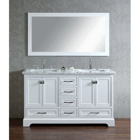 Stufurhome Newport White 60 Inch Double Sink Bathroom Vanity With