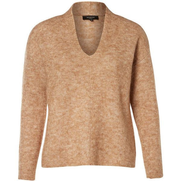 MOHAIR STRIKKET PULLOVER ❤ liked on Polyvore featuring tops, sweaters, beige pullover sweater, mohair sweater, beige top, sweater pullover and pullover sweater