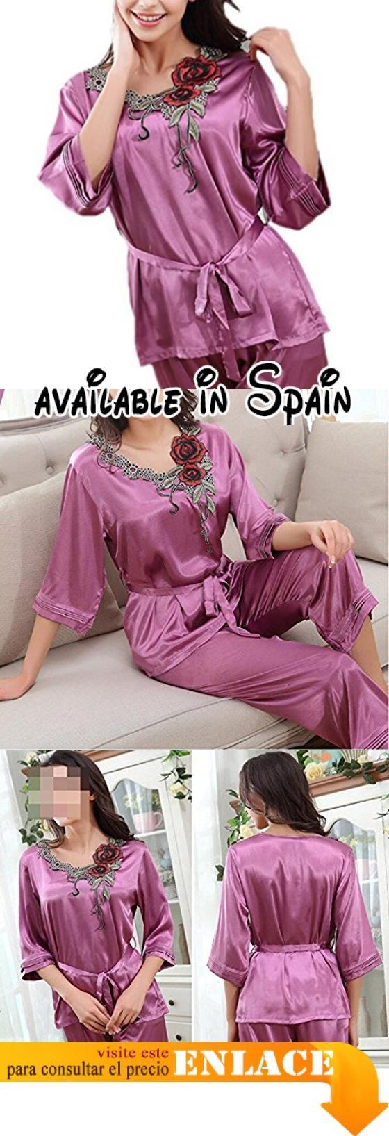 B075ZV1CYR : QPALZM Set De Pijamas De Satén Para Mujer Set De ...