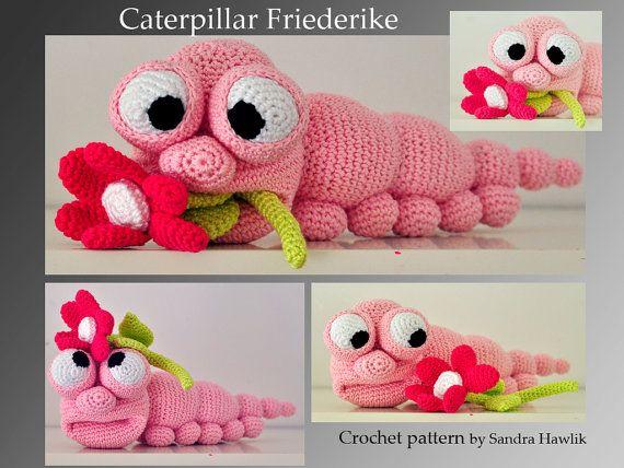 Amigurumi Caterpillar : Crochet pattern amigurumi caterpillar worm por motleycrochetcrew