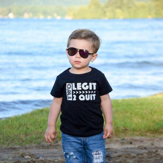 Two Legit 2 Quit shirt - Do you have a little one that's rocking two? This high quality tee is great for announcing to the world that your little one is two and enjoying every minuted of it~ A great 2nd birthday shirt that can be worn all year long!__________________________________________________________Details:☆Nice quality cotton  or poly/cotton blend shirt☆4-4.4 oz. ☆Machine wash, cold water, tumble dry low☆Not intended for sleepwear__________________________________________________________