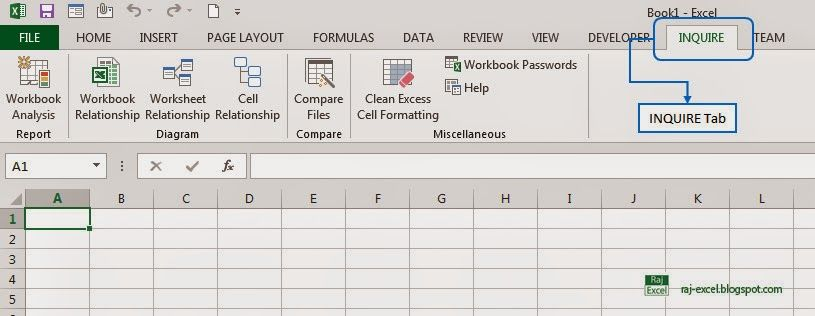 Raj Excel: How to enable INQUIRE Tab in Ribbon on Excel 2013