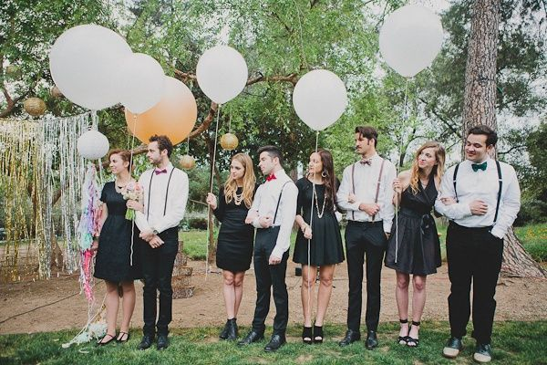 The Cutest Wedding Party Style Bow Ties Suspenders And Balloons