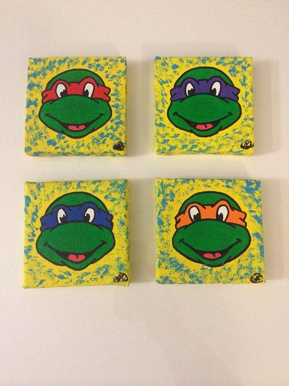 4 Piece Teenage Mutant Ninja Turtles Canvas Set By Artbybrite 40 00 Ninja Turtle Bedroom Turtle Bedroom Turtle Room
