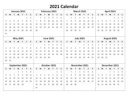 12 Month Excel Calendar 2021 | Calendar 2021