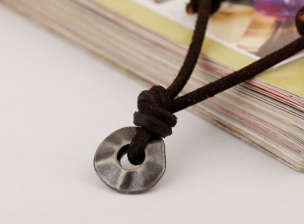 Unisex Adjustable Leather and Alloy Abacus Pendant Necklace