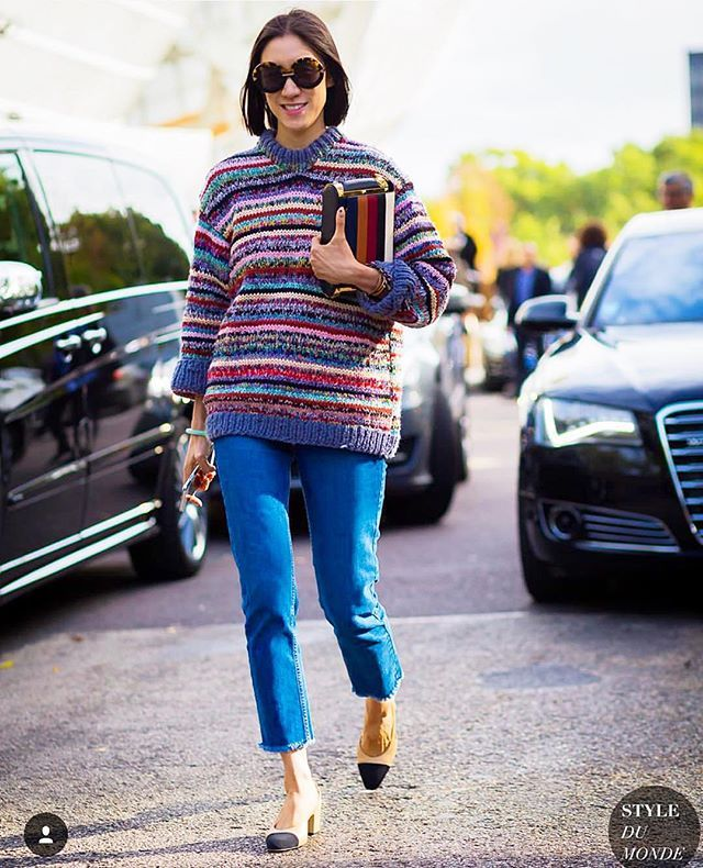 Last day of Paris look: vintage sweater probably knit by a grandma, comfy jeans, and a lot of relief that I was finally headed home .  by @styledumonde!