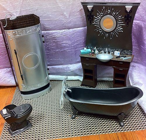 Ooak Barbie Bathroom 1:6 Scale Furniture Shower Toilet Sink Bathtub Accessories