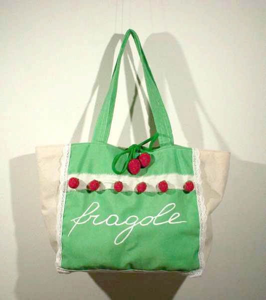Fragole e Champagne.Handmade  bag made in Italy from cotton di caryhandmade su Etsy