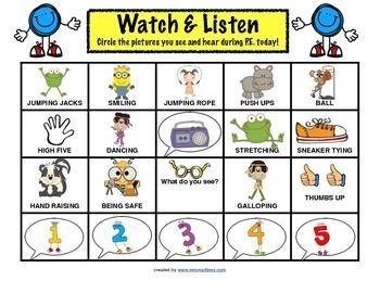 Worksheets Elementary Education Worksheets physical education watch and listen in pe worksheet teacherspayteachers com keep your students