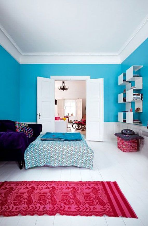 21 Bright Color Combination Ideas For Bedroom In 2020 Colorful Bedroom Design Blue Bedroom Design Bedroom Wall Colors