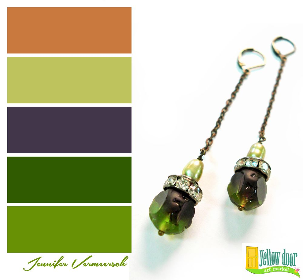 Lovely green color palette with accent colors earrings by jennifer